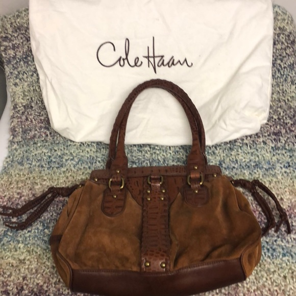 Classic Cole Haan brown suede purse, with